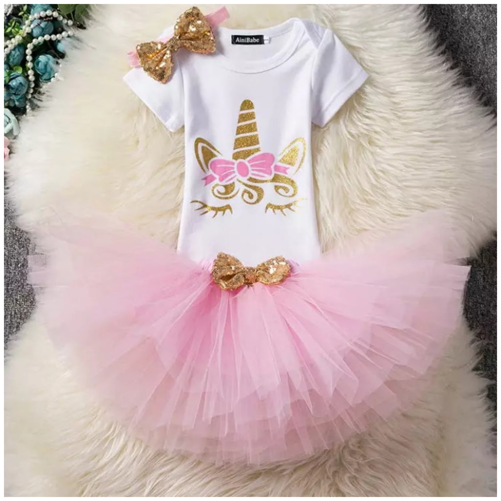 Sleepy Unicorn 1st Birthday Tutu Set
