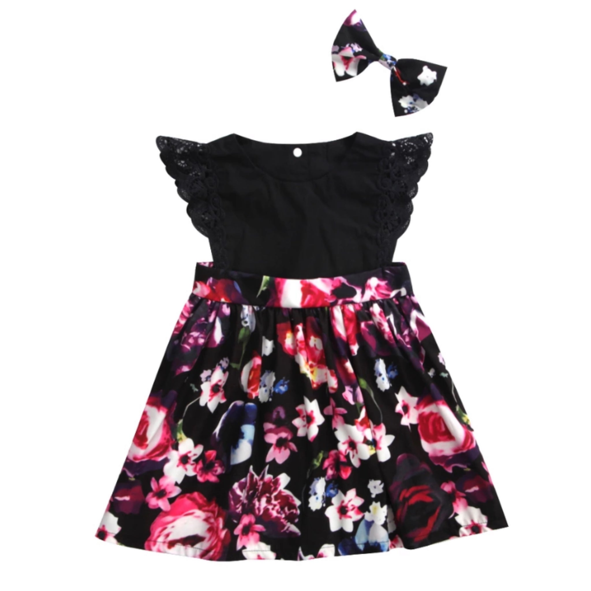 Kids-Dress-Black-Floral-Set-Bow