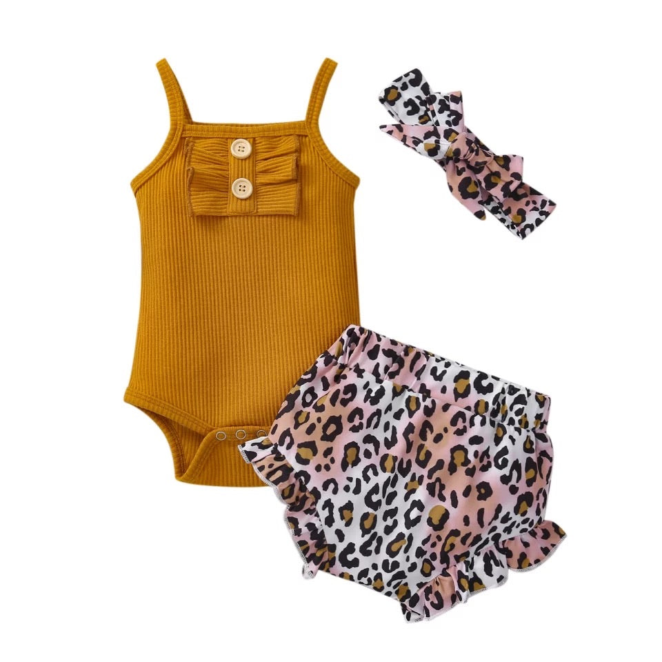 Leopard Singlet and Shorties Set