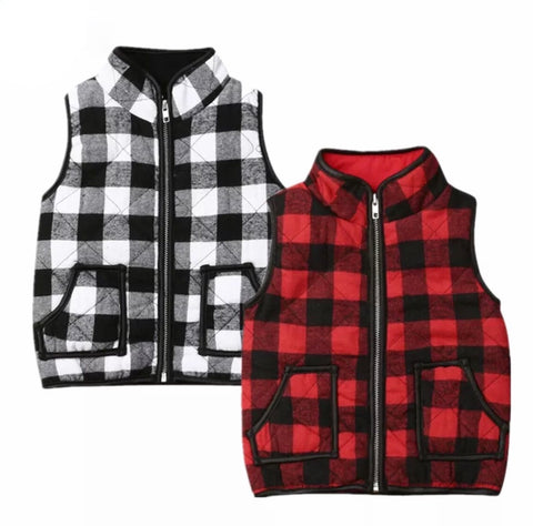 Plaid Puffy Vest