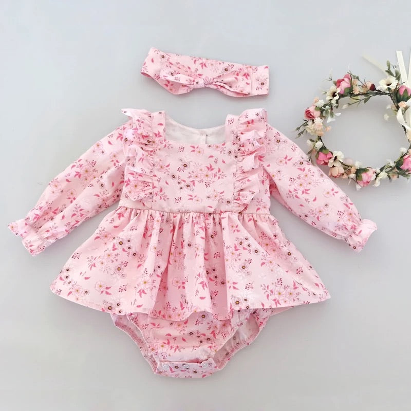 Little Lilly Pink Long Sleeve Romper