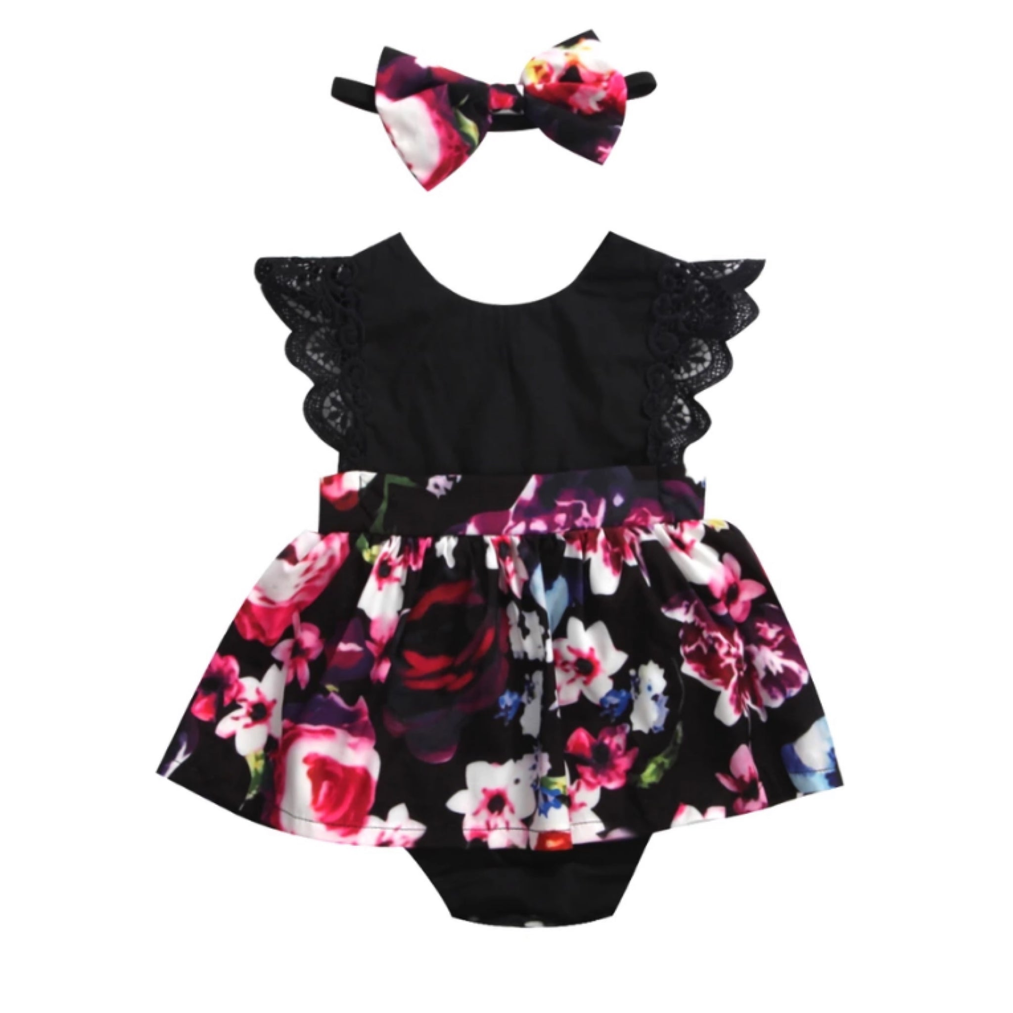 Kids-Dress-Black-Floral-Set