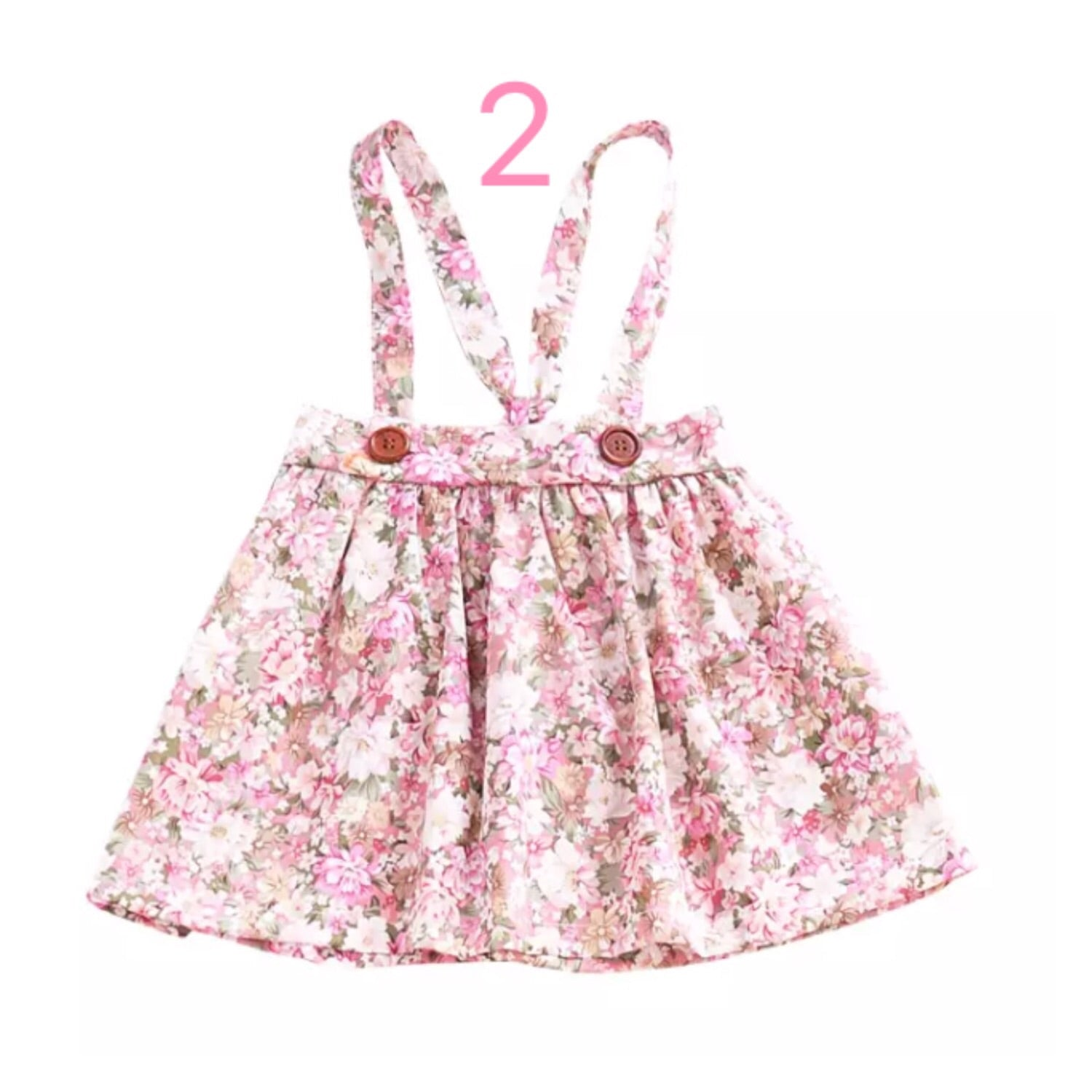 Girl's-Floral-Suspender-Skirts-Front