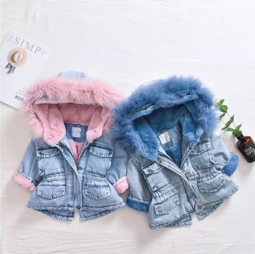 Denim fluffy jacket