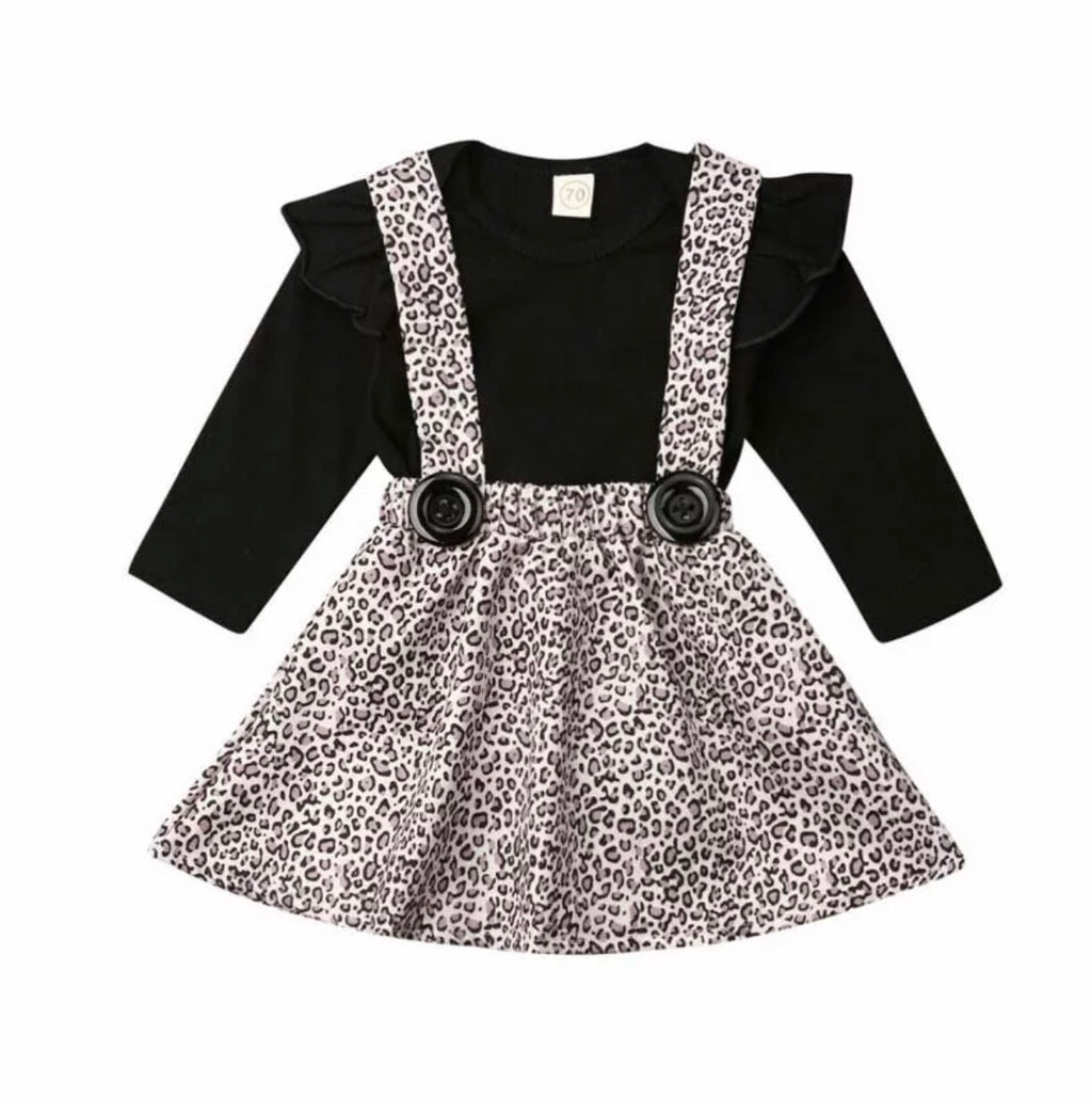 Leopard Suspender Skirt Set