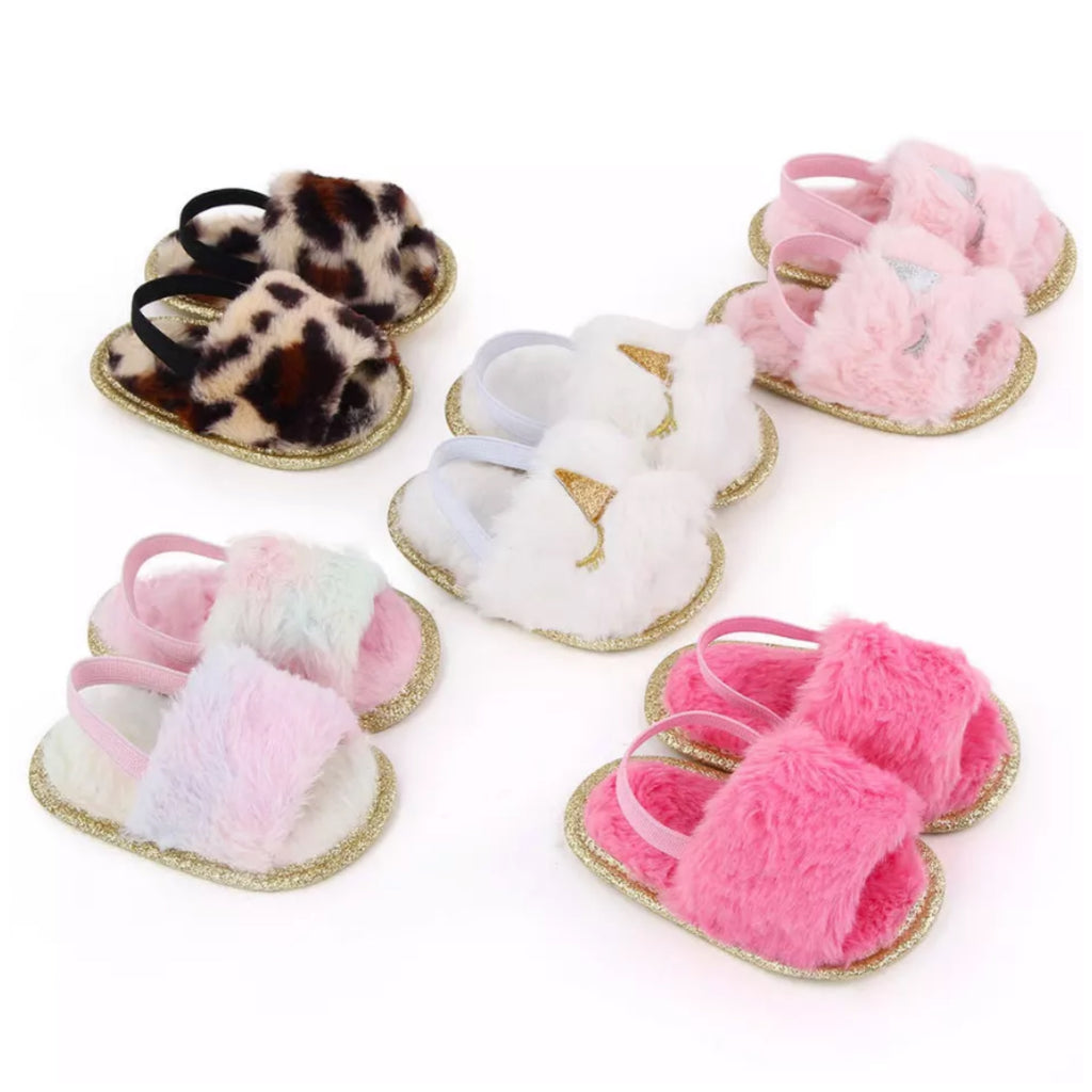 Children's-Shoes-Fluffy-Slides-Assorted-Colours