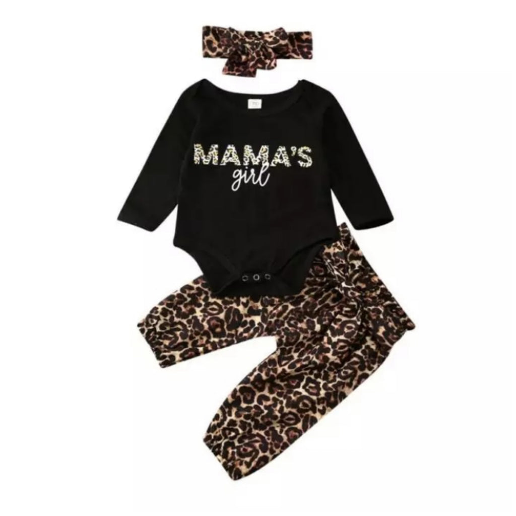 Mama's Girl Black Leopard Set