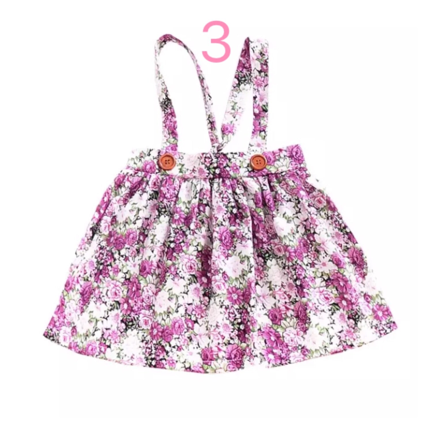Girl's-Floral-Suspender-Skirts-Purple