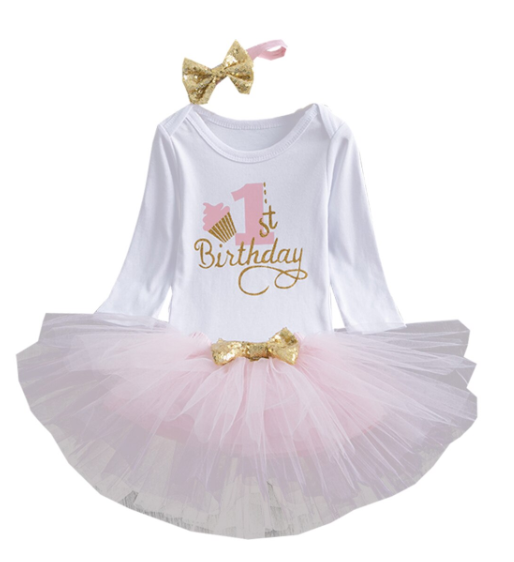 1st Birthday Cupcake Tutu Long Sleeve