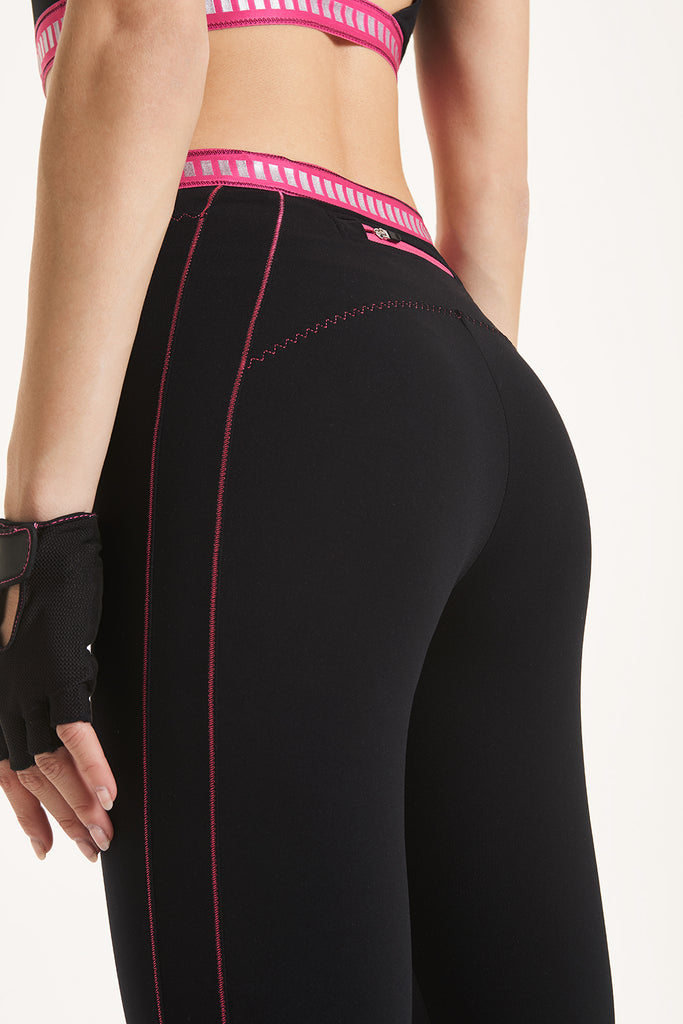 Aura  Black/Fucsia Leggings - Sapopa