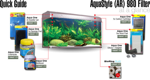 aqua one aquastyle AR980 tank filter parts and replacement