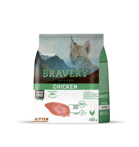 Bravery Grain Free Chicken Kitten Kibble 400g, Grain free kitten food, natural