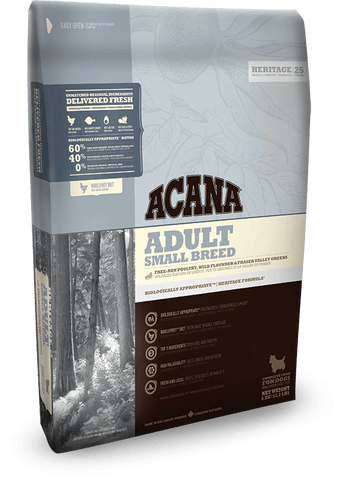 Acana Dog Adult Small Breed biscuits, pet essentials napier, acana small breed 6kg bag, pet essentials hastings acana adult small breed bag. happy animalz taradale stockist of acana and orijen dog biscuits