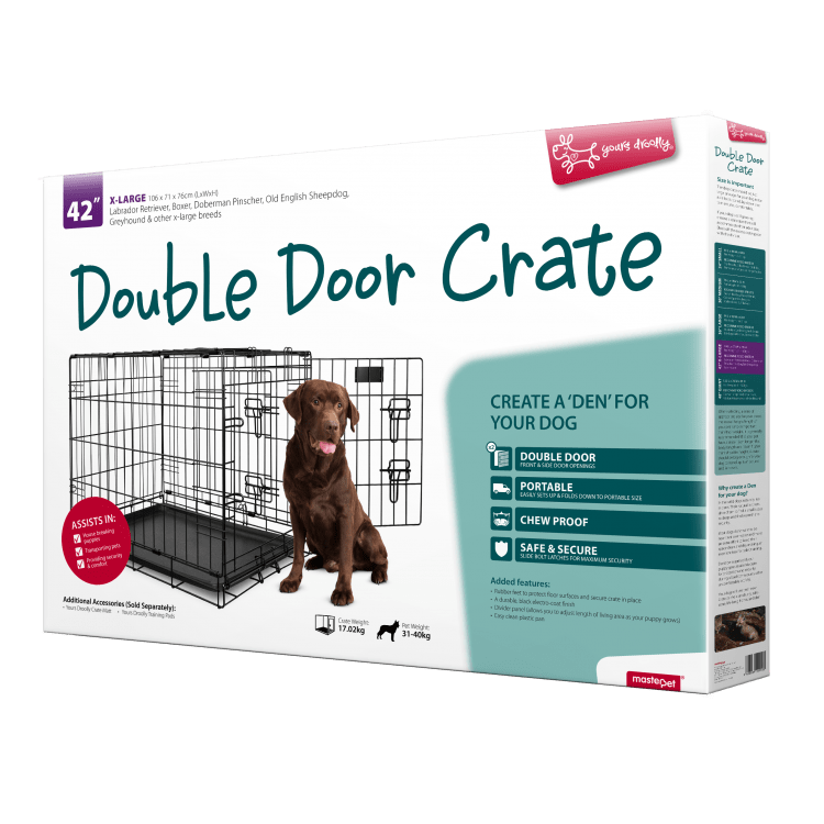 Yours Droolly Double Door XL Dog Crate 42 Inch 106Lx71Wx76H