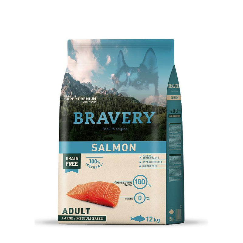 Bravery Grain Free Adult Dog Kibble Salmon 12kg