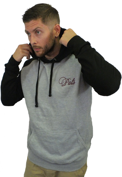 Unisex Black and Grey Raglan Hoodie