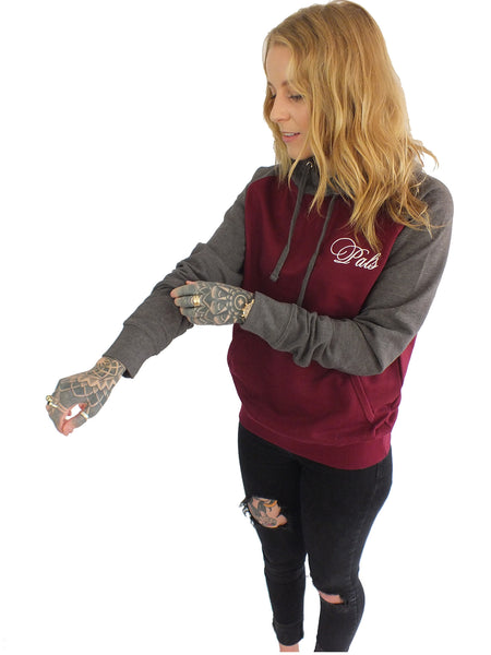 Unisex Burgundy and Charcoal Raglan Hoodie