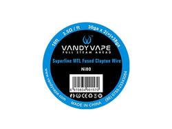 Vandy Vape Superfine MTL Fused Clapton NI80 WIRE 30G*2+38G 3M