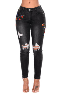 Black Mid Rise Distressed Rose Embroidery Jeans