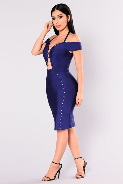 Off Shoulder Grommet Hollow Dress