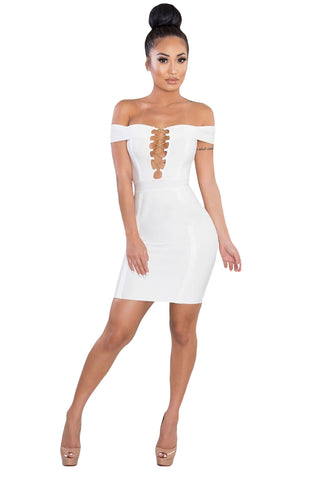 Crisscross Lace up White Bandage Dress
