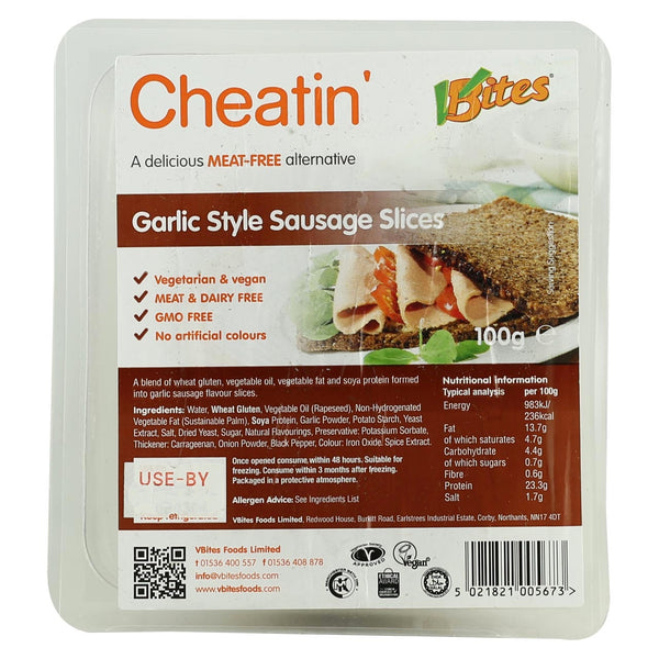 Vbites Garlic Sausage Style Slices- Use By 25th October 2018