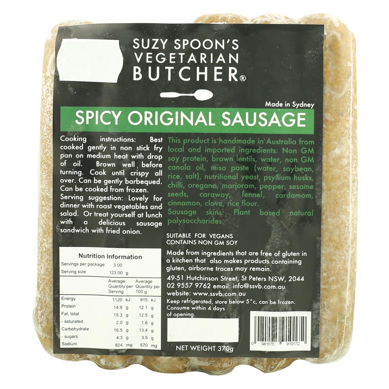 Suzy Spoon's Spicy Original Sausage (Best Before: 1st August 2018)