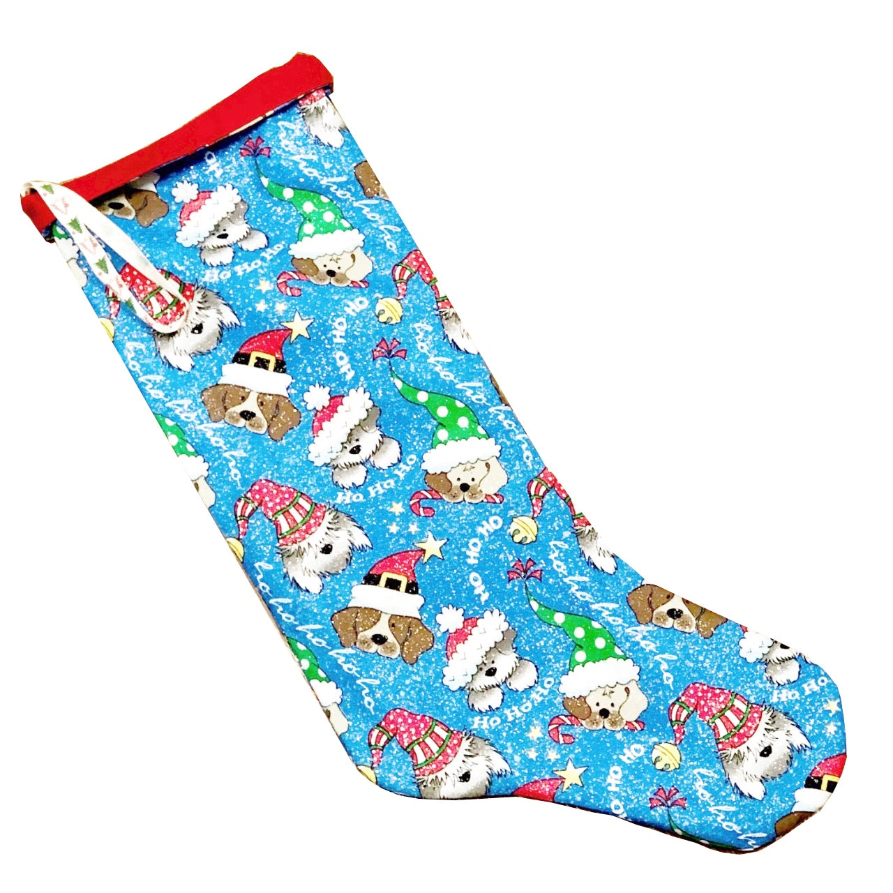 Hand made Fabric Christmas Stocking -Blue Dogs