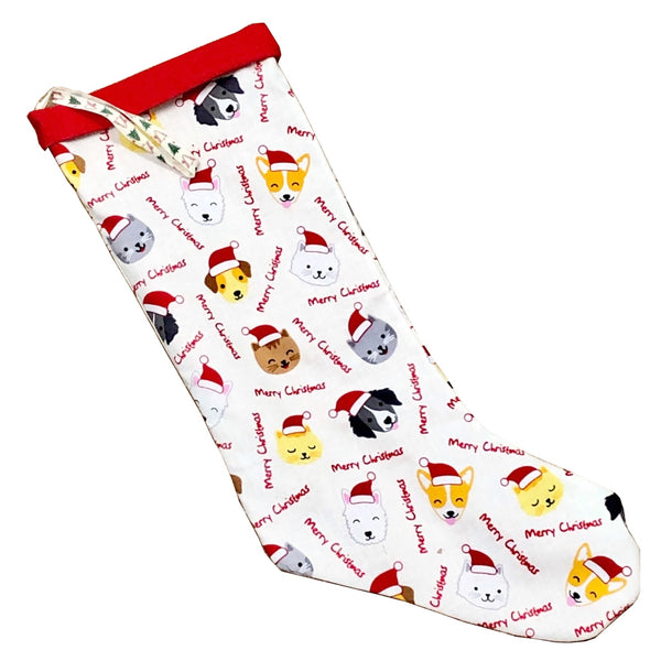 Hand made Fabric Christmas Stocking -Dogs & Cats pattern