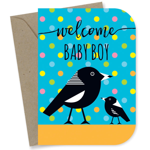 Earth Greetings Card -Baby Boy Magpies