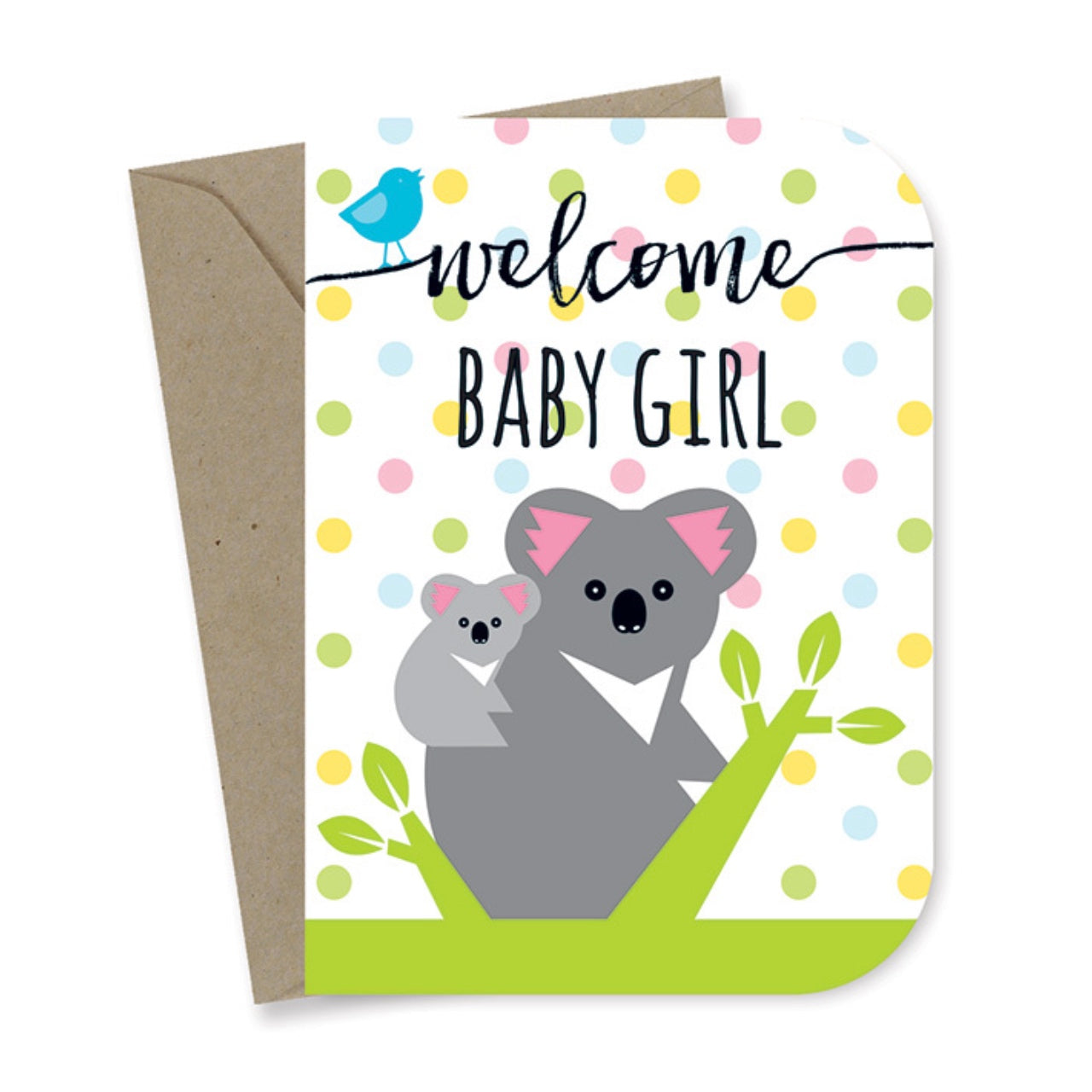 Earth Greetings Card -Baby Girl Koalas
