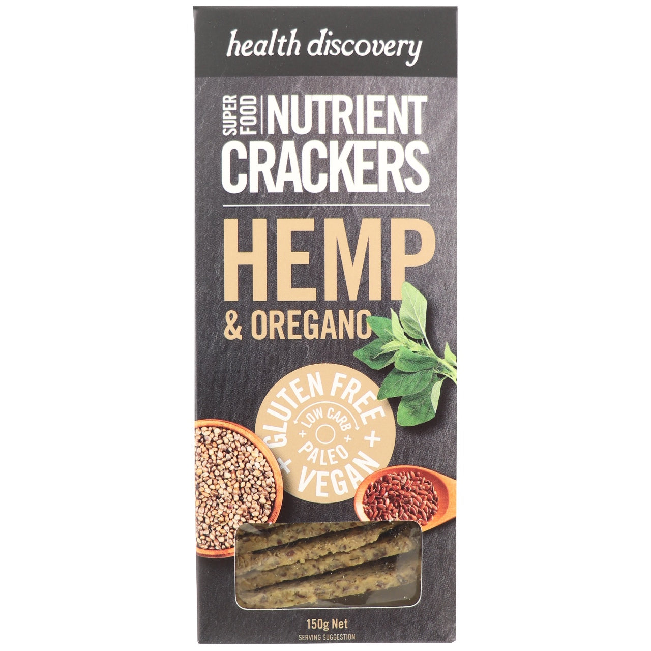 Health Discovery Nutrient Crackers -Hemp & Oregano