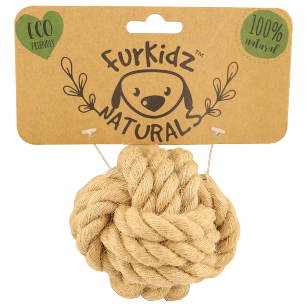 Furkidz Naturals Jute Ball Dog Toy -7cm