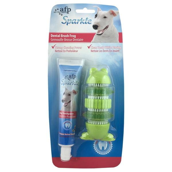 Sparkle Self Brushing Frog with Toothpaste Kit for Dogs