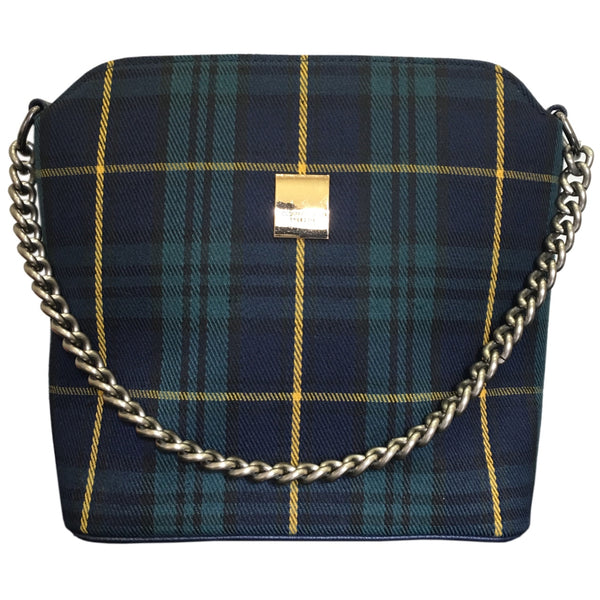 Ecolade Handbag -Blue Plaid with Chain Strap
