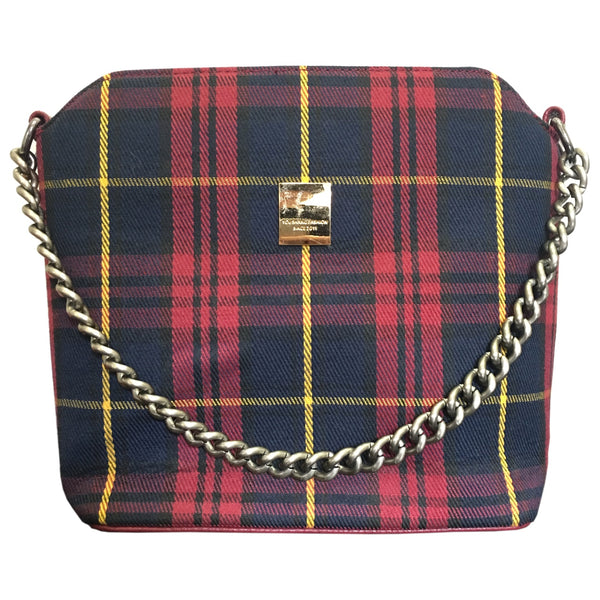 Ecolade Handbag -Red Plaid with Chain Strap