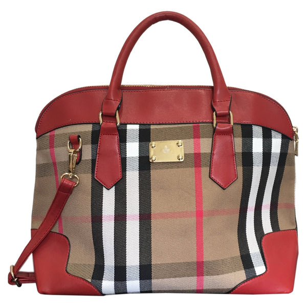Ecolade Handbag -Classic Red Plaid Tote