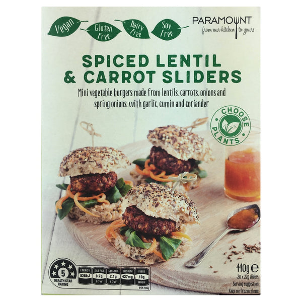 Paramount Spiced Lentil & Carrot Sliders