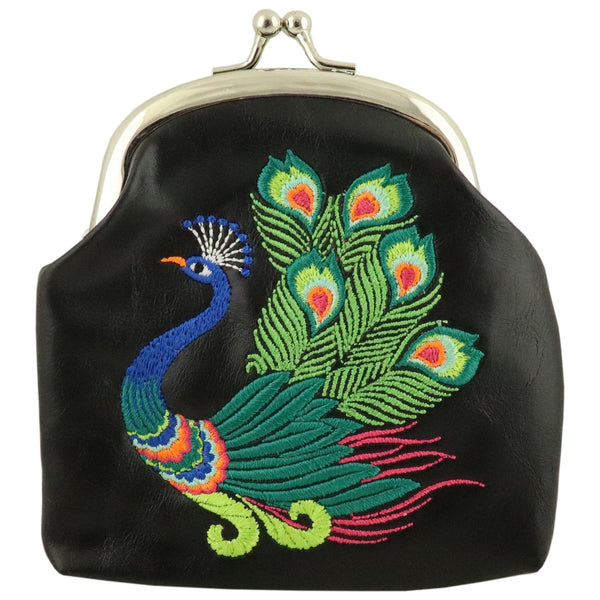 Lavishy Elma Embroidered Coin Purse -Peacock