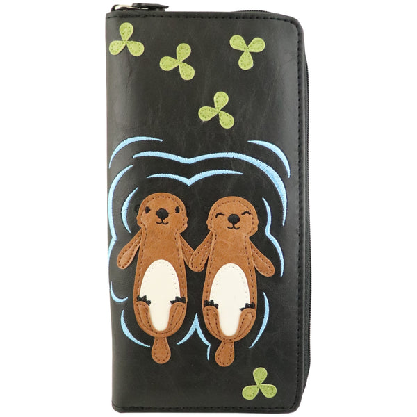 Lavishy Adora Large Zipper Wallet -Otter Applique