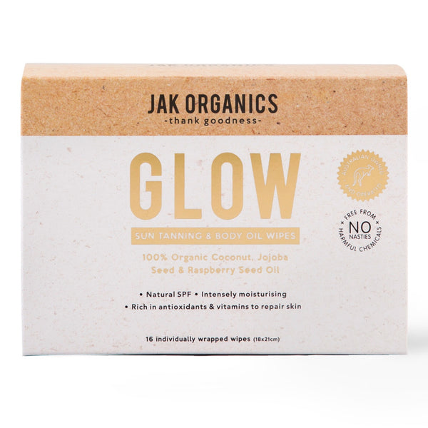Jak Organics Glow Sun Tanning & Body Oil Wipes