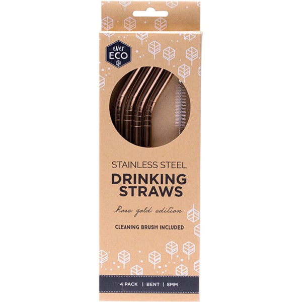 Ever Eco Stainless Steel Rose Gold Straw 4 Pack -Bent