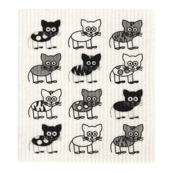 Retro Kitchen Biodegradable Dish Cloth - Cats