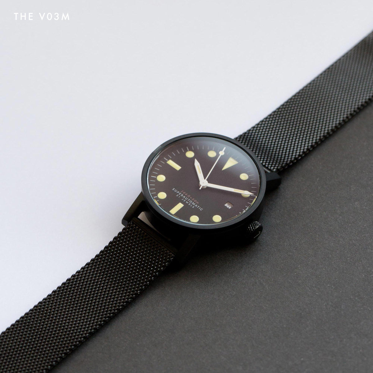 The V03M-BL/MB by VOID Watches. All black mechanical watch.