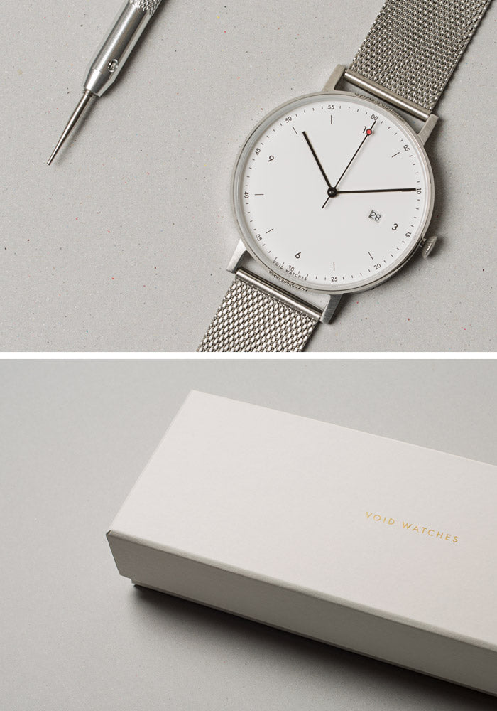 The PKG01-SI/MR/WH Giftset from VOID Watches, designed by Patrick Kim-Gustafson.