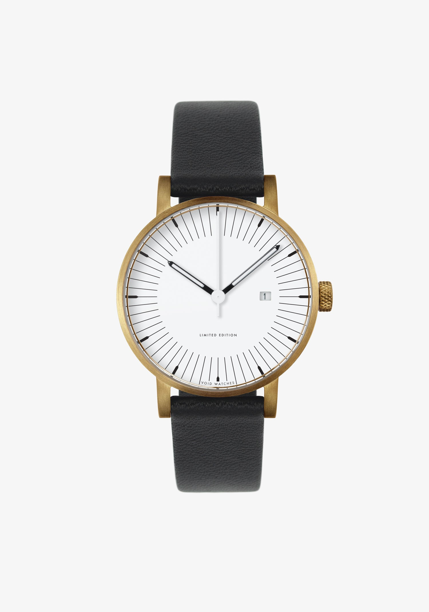 The MoMA-MkII by VOID Watches. A limited edition 70s inspired watch with black leather straps and a gold case.