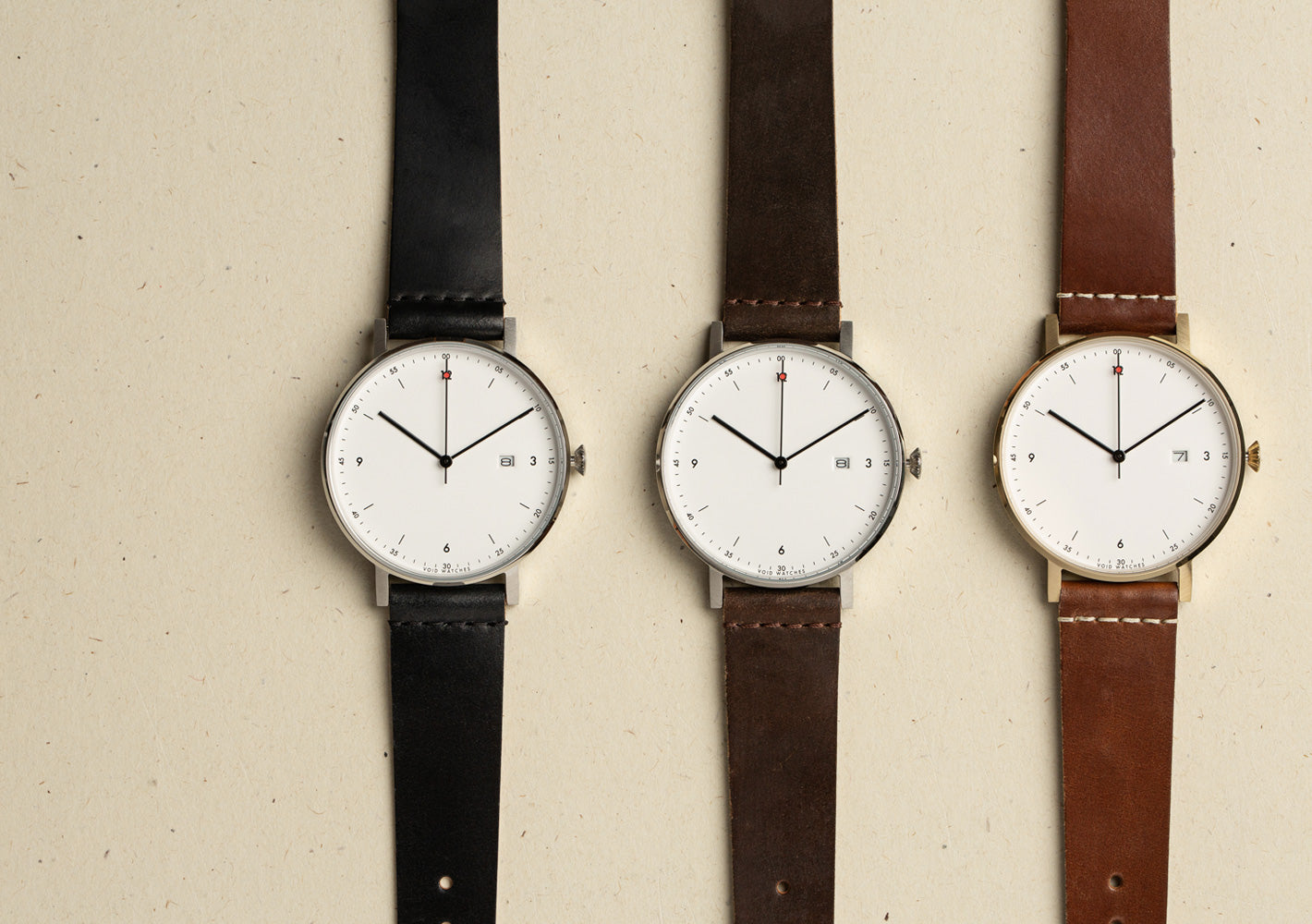 The PKG01 Horween Collection from VOID Watches, designed by Patrick Kim-Gustafson.