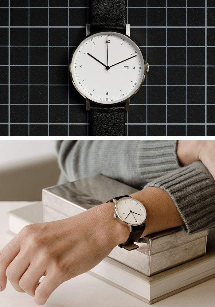 The PKG01-SI/BL/WH from VOID Watches, designed by Patrick Kim-Gustafson.