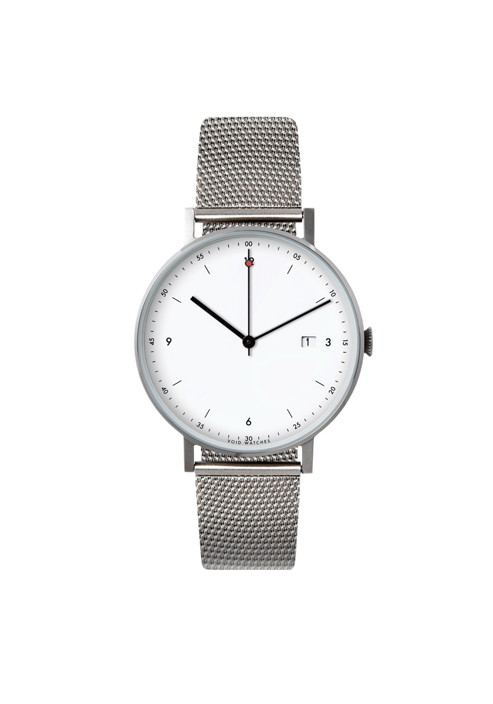 The PKG01-SI/MR/WH by VOID Watches. Classic Date Watch with a Milanese Strap.