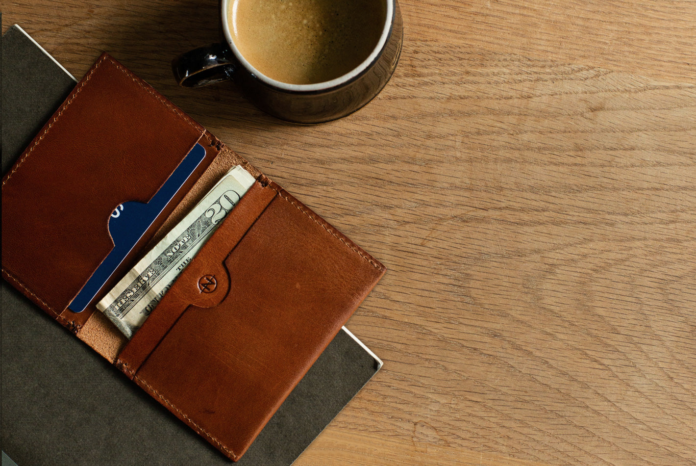 The Cognac Nimrodian Bi-Fold Card Case from VOID Watches, designed by David Ericsson.